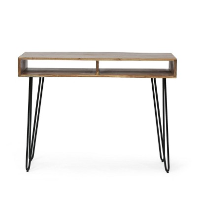 Conyers Modern Industrial Handcrafted Acacia Wood Storage Desk with Hairpin Legs Natural/Black - Christopher Knight Home