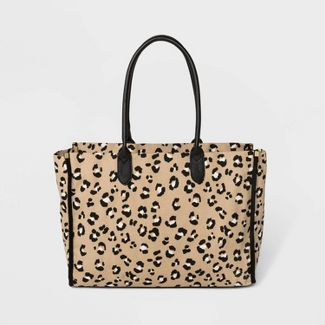 Leopard Print Canvas Boxy Tote Handbag - A New Day™