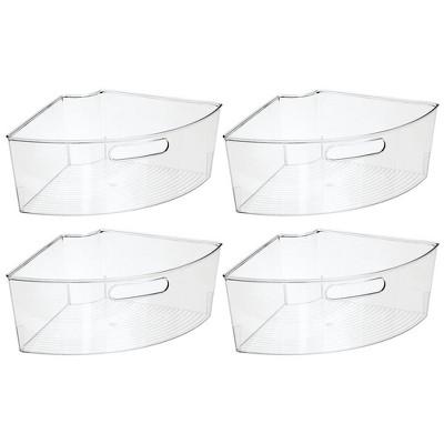 mDesign Lazy Susan Kitchen Food Storage Organizer Bin, 1/4 Wedge, 4 Pack