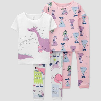 Toddler Girls' 4pc Princess/Dragon Snug Fit Pajama Set - Just One You® made by carter's White/Purple/Pink