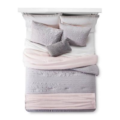 Blush Geo Lattice Comforter Set 5pc (Full/Queen)- Room Essentials™