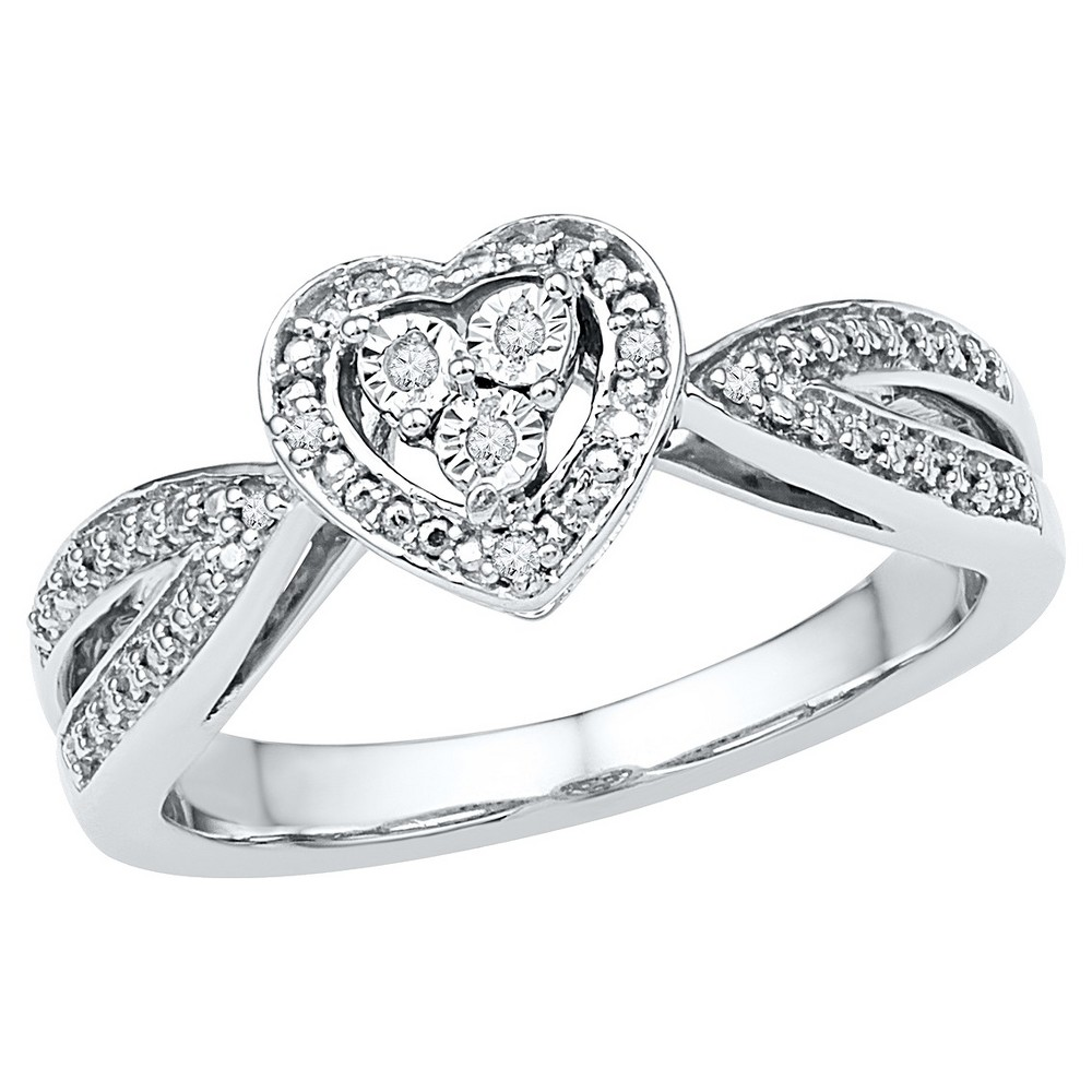 Women's Diamond Accent Prong/Miracle Set Heart Ring in Sterling Silver (IJ-I2-I3) (Size 6), White