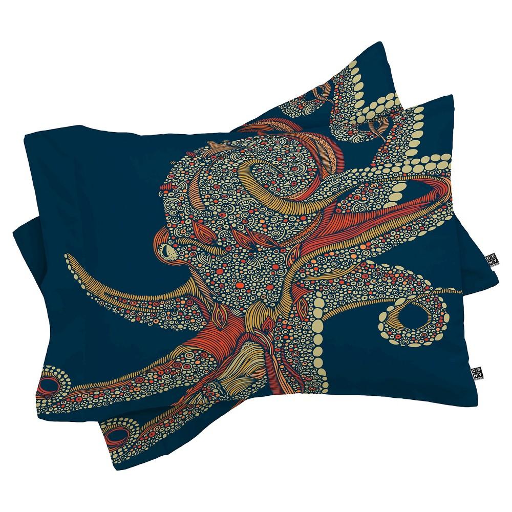Valentina Ramos Octopus Pillow Shams (Standard/Queen) Blue 2 pc - Deny Designs