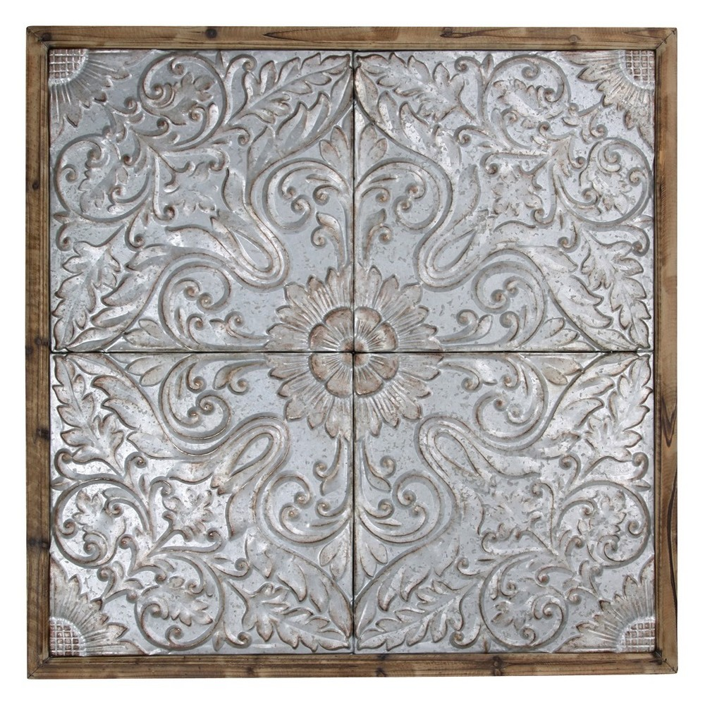46.7 Punched Tin Ceiling Tiles Wood Framed Decorative Wall Art Walnut (Brown) - StyleCraft