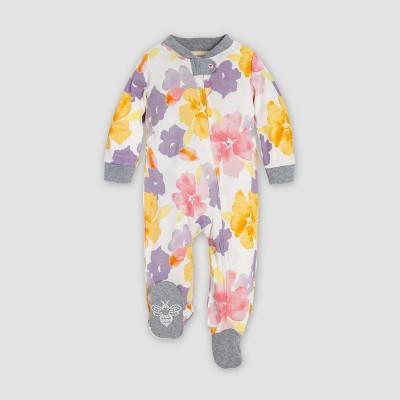 Burt's Bees Baby® Baby Girls' Sunset Garden Organic Cotton Sleep N' Play Union Suit - White/Yellow/Pink 6-9M