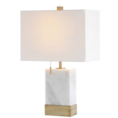 "22.5"" Marble and Iron Trevor Modern Console LED Table Lamp (Includes Energy Efficient Light Bulb)White and Gold - Jonathan Y"