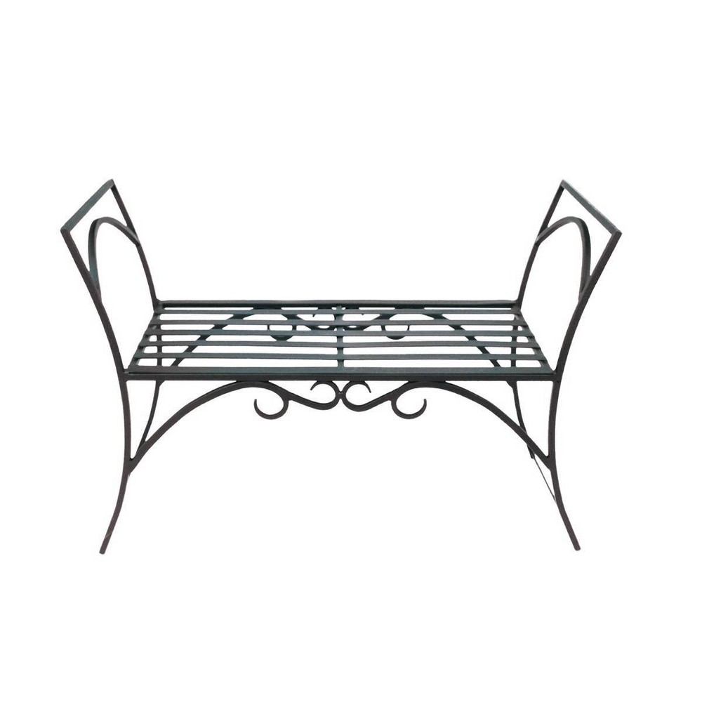 26 5 34 Wrought Iron Curved Arbor Bench Black Achla Designs