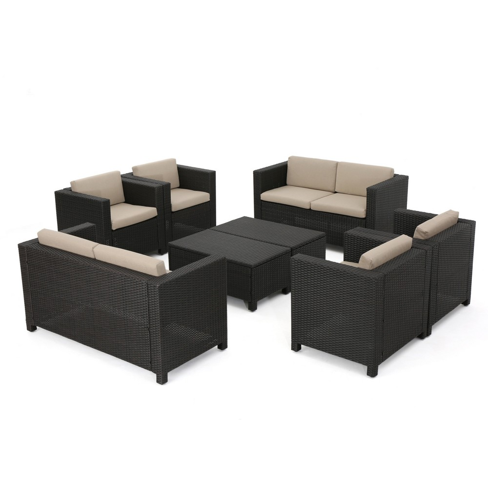 Puerta 8pc All-Weather Wicker Patio Chat Set - Dark Brown/Beige - Christopher Knight Home