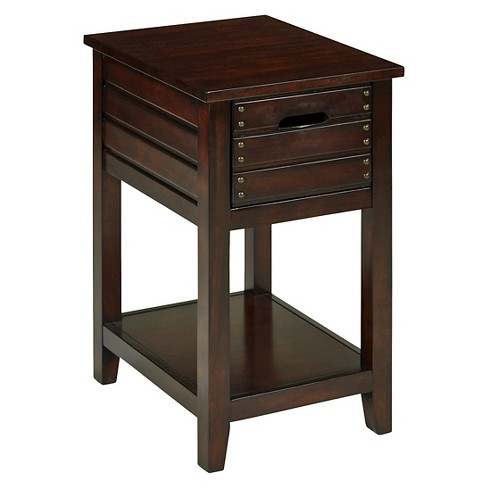 Camille Chair Side Table Walnut - OSP Home Furnishings - image 1 of 6