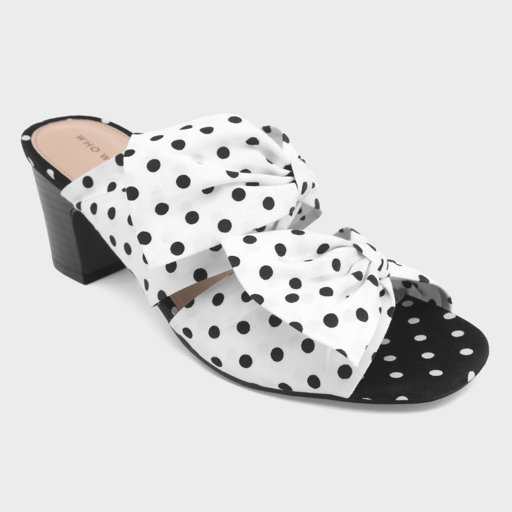 Women's Poppy Polka Dot Bow Two Band Heeled Pumps - Who What Wear White 6, Black