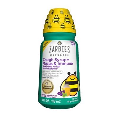 Zarbee's Naturals Children's Cough Syrup + Mucus & Immune - Berry - 4 fl oz