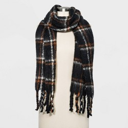Women's Plaid Brushed Blanket Scarf - A New Day™ Black One Size