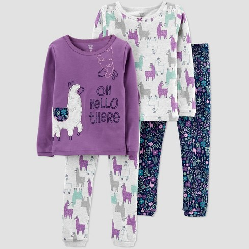 Toddler Girls' 4pc Llama Snug Fit Pajama Set - Just One You® made by carter's Purple  - image 1 of 3