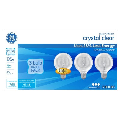 General Electric 60w 3pk G25 Energy Efficient Halo Light Bulb White/Clear