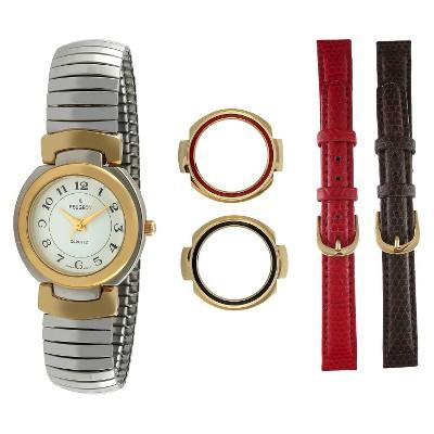 Women's Peugeot Two-Tone Interchangeable Strap  Bezel Watch Set