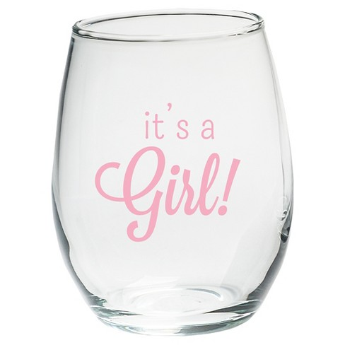 12ct It's a Girl 9oz. Stemless Wine Glass - image 1 of 1