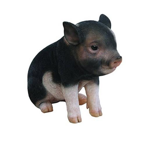 "6"" Polyresin Sitting Baby Pig Statue Dark Brown - Hi-Line Gift - image 1 of 3"