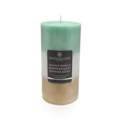 Pillar Candle Sea Salt Vanilla/Jasmine Bouquet/Bermuda Sands 6 x3  - Chesapeake Bay Candle