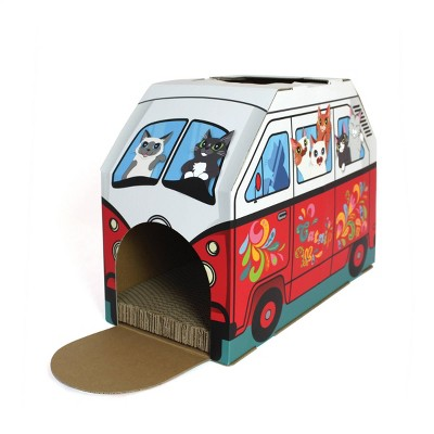 American Cat Club Retro Van Cat House with Scratchboard - Red