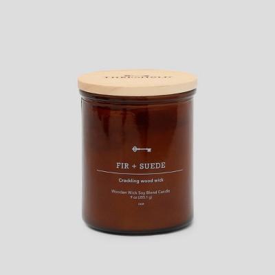 9oz Lidded Glass Jar Crackling Wooden Wick Candle Fir & Suede - Threshold™