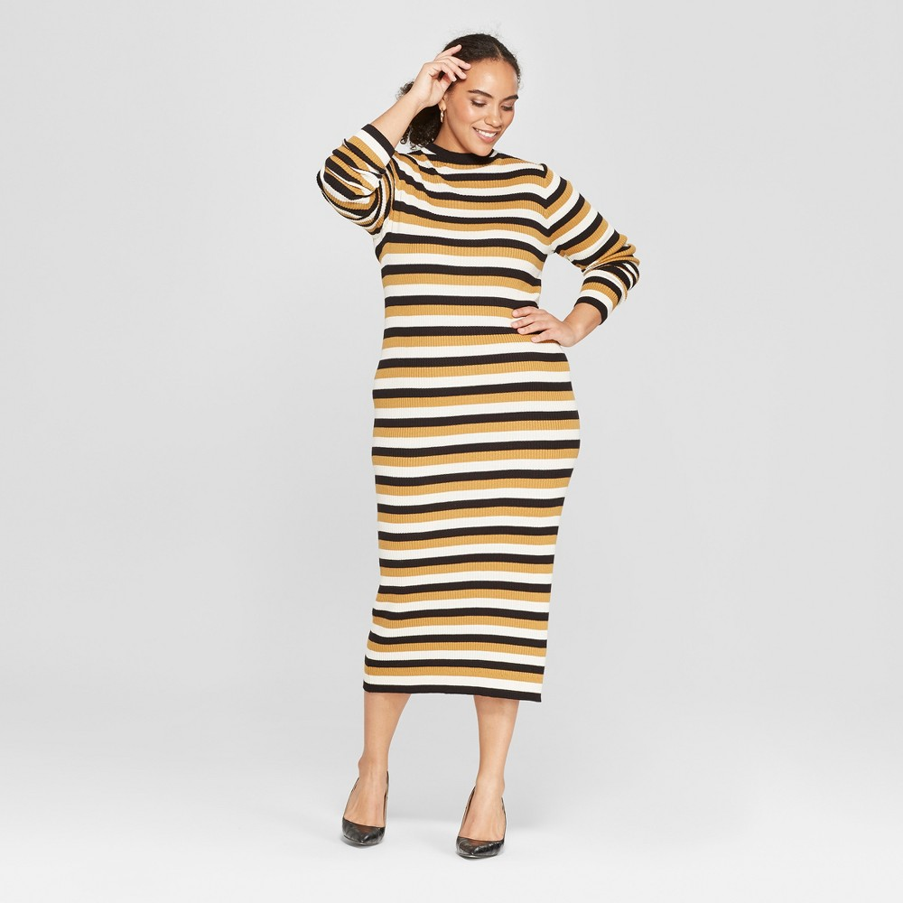 Women's Plus Size Striped Sweater Dress - Who What Wear Cream (Ivory) 2X