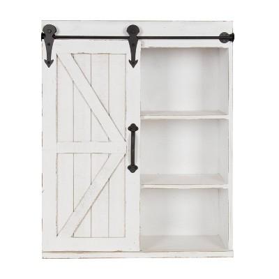 Modern Farmhouse Decorative Wood Wall Storage Rustic White - Kate & Laurel All Things Decor