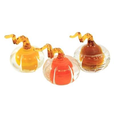 "Fall 1.5"" Mini Glass Amber Pumpkins Thanksgiving Set Of Three  -  Decorative Figurines"