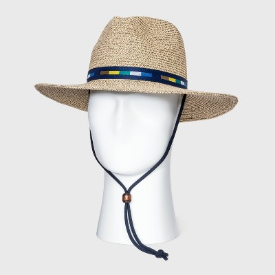 Men's Mixed Color Panama Hat with Colorful Band - Goodfellow & Co™ Brown M/L