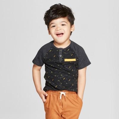 Toddler Boys' Genuine Kids from OshKosh® Raglan Henley Short Sleeve - Black 12 M