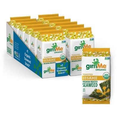 GimMe Organic Toasted Sesame Roasted Seaweed Snacks - 0.35oz/12pk