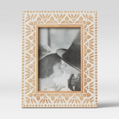 "4"" x 6"" Carved Wood Frame White - Opalhouse™"