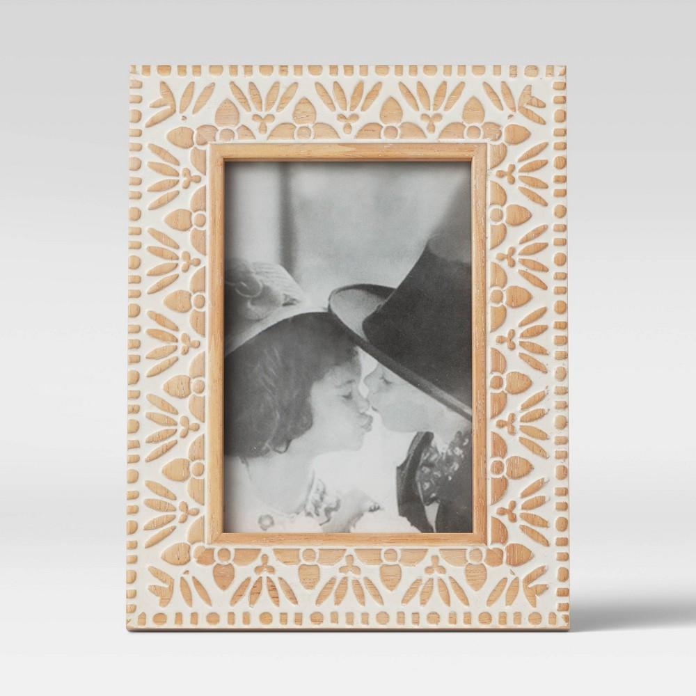 4 34 X 6 34 Carved Wood Frame White Opalhouse 8482
