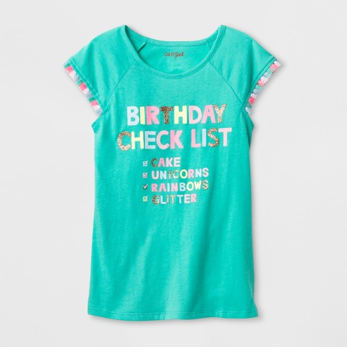 Girls' Short Sleeve Birthday Checklist T-Shirt - Cat & Jack™ Green - image 1 of 1