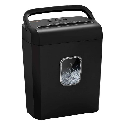Bonsaii C234-A Portable 8 Sheet Cross Cut Paper, Card, Paper Clip and Staple Shredder Bin w/ Handles, and Large 3.5 Gallon Capacity Wastebasket, Black