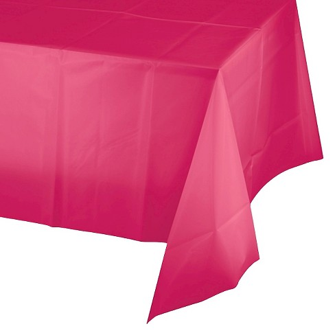 Hot Magenta Pink Disposable Tablecloth - image 1 of 3