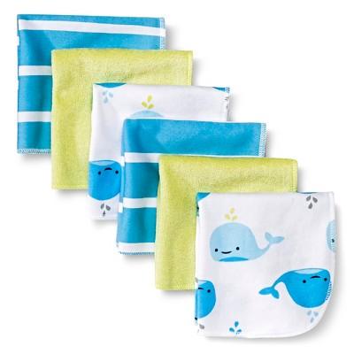 Baby Boys' 6 Pack Whale Print Lightweight Washcloth Set - Circo™