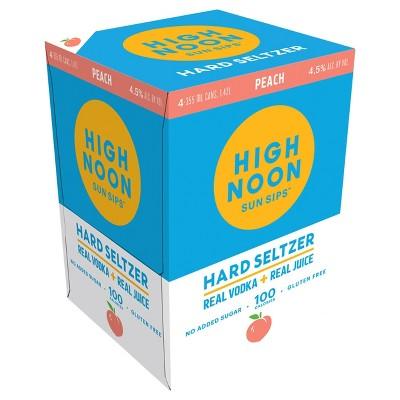 High Noon Sun Sips Peach Vodka Hard Seltzer - 4pk/355ml Cans