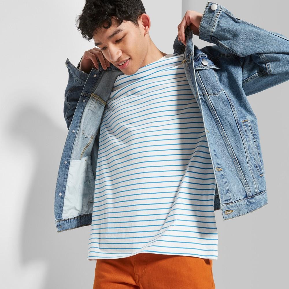 Men's Striped Regular Fit Short Sleeve Boxy T-Shirt - Original Use Brilliant Blue XL