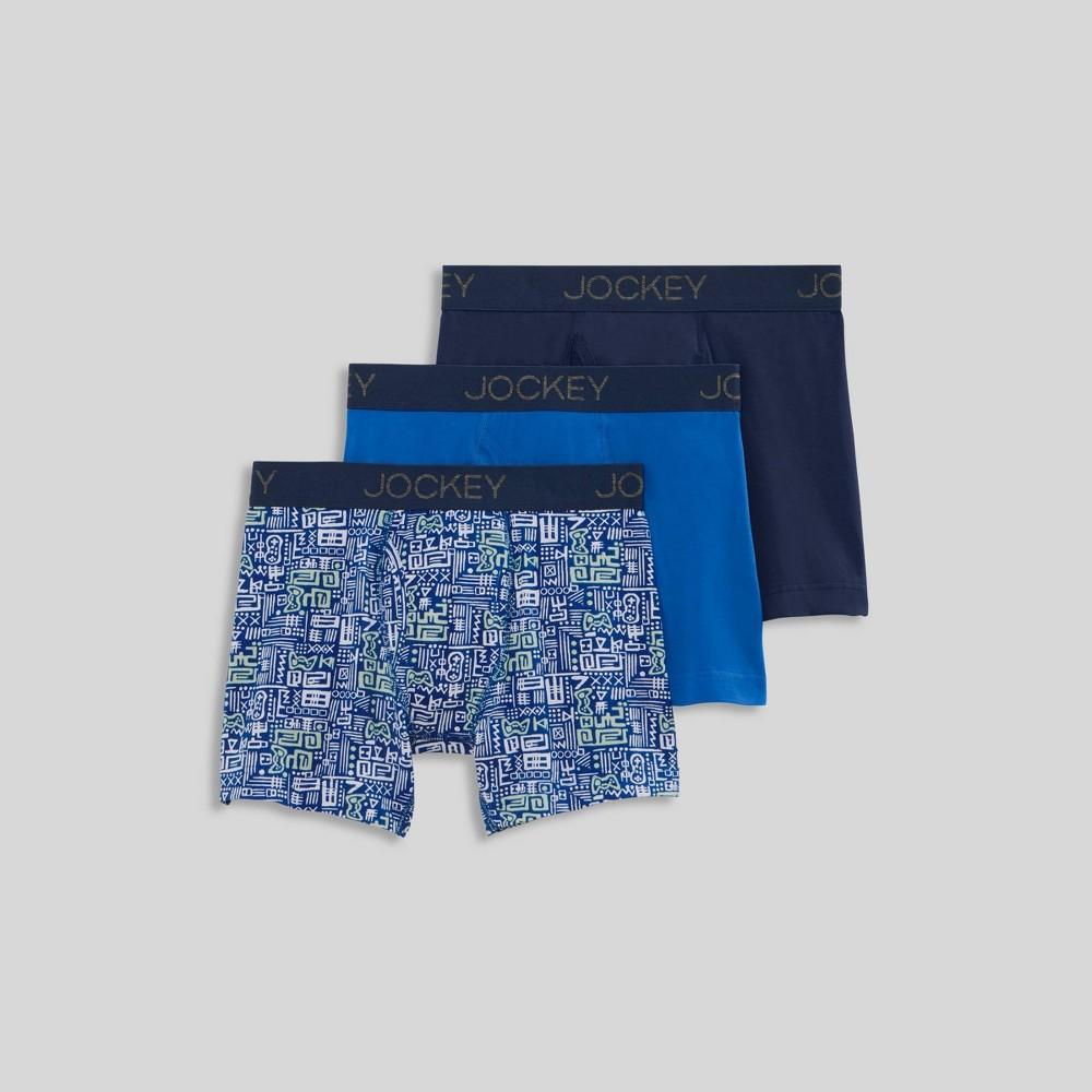 Jockey Generation 8482 Boys 39 3pk Cotton Stretch Boxer Briefs Silver Blue L
