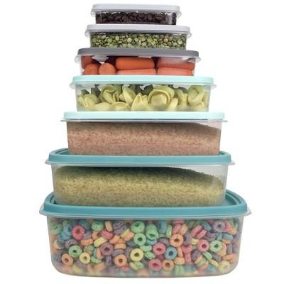Home Basics 14 Piece Plastic Food Storage Container Set with Secure Fit Plastic Lids, Multi-Color
