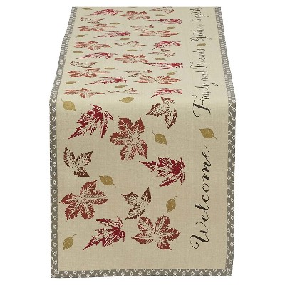 72 x14  Gather Together Printed Table Runner Brown - Design Imports