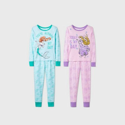 Girls' Disney Princess Ariel & Rapunzel 4pc Pajama Set - Blue/Purple 4