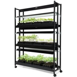 LED Grow Light Stand, Heavy Duty 3-Tier With Plant Trays - Gardener's Supply Company