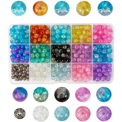 Bright Creations 350 Piece Mixed Glass Beads for DIY Jewelry Making, Crackle, 15 Colors