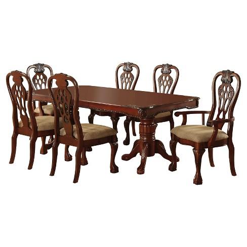 Sun & pine 7pc elegant carved double pedestal dining table set wood