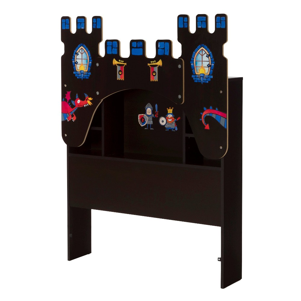 Vito Twin Bookcase Headboard with Decals, Castle Themed - 39''- Chocolate (Brown) - South Shore
