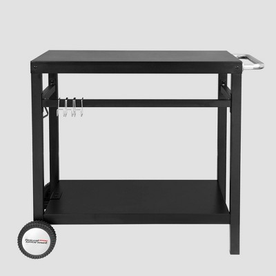 34'' x 20'' Double Shelf Movable Patio Console Table with Handle/Outdoor Kitchen Prep Trolley with Storage Black - Royal Gourmet
