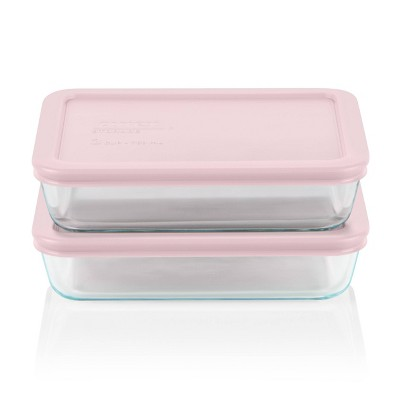 Pyrex 3 Cup 2pk Rectangular Food Storage Container Set - Pink