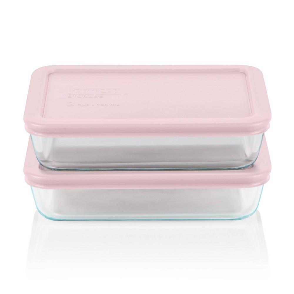 Image of Pyrex 3 Cup 2pk Rectangular Food Storage Container Set - Pink
