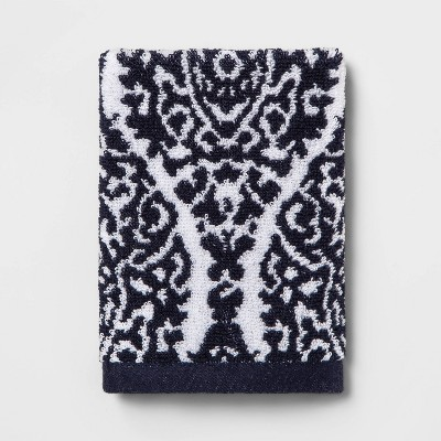 Performance Washcloth Navy Ogee - Threshold™